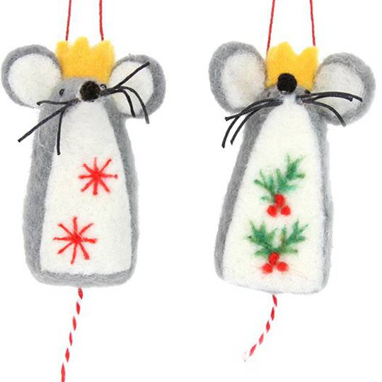 Wool Grey Mouse with Crown 8cm